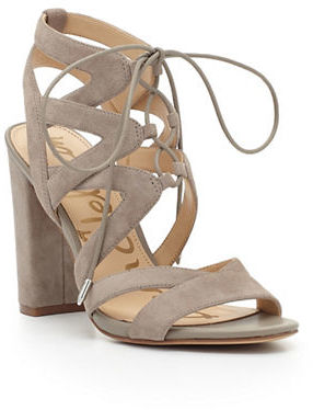 Sam Edelman Yardley Lace-Up Suede Block Heel Sandals $130 thestylecure.com