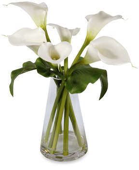 CALLA Faux Lilies in Triangle Vase