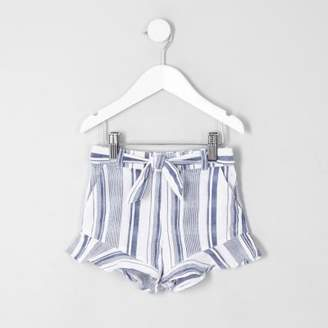 River Island Mini girls blue stripe frill hem shorts