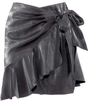 Cinq à Sept Harley Wrap-Effect Metallic Woven Mini Skirt
