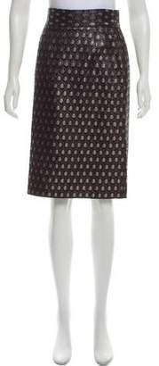 Prada Knee-Length Metallic Skirt