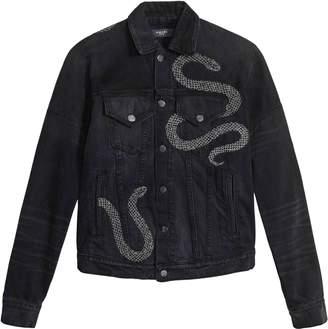 Amiri glitter snake oversized trucker jacket black