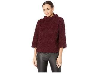 Vince Camuto Elbow Sleeve Stand Neck Popcorn Eyelash Knit Top