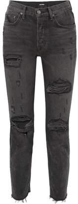 GRLFRND Karolina Distressed High-rise Skinny Jeans - Black