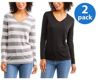 Faded Glory Women's Essential Long Sleeve V-Neck T-Shirt 2 Pack Value Bundle