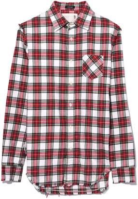 R 13 Shredded Seam Shirt in Ecru/Red Plaid