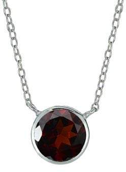 Lord & Taylor Sterling Silver & Garnet Pendant Necklace