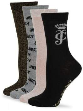 Juicy Couture Four-Pack Classic Crew Socks