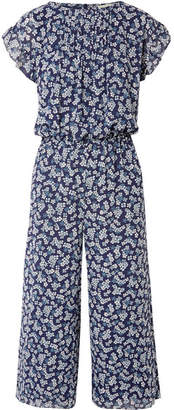 MICHAEL Michael Kors Pleated Floral-print Georgette Jumpsuit - Navy