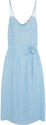 HVN - Lily Printed Silk-satin Dress - Sky blue $445 thestylecure.com