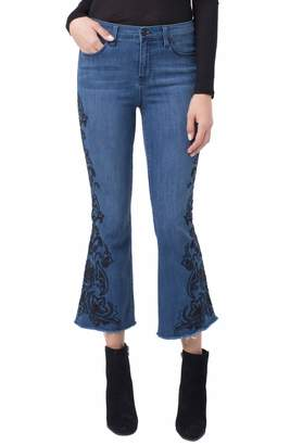Liverpool Hannah Embroidered Crop Flare Raw Hem Jeans