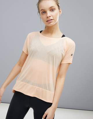 Asics Running Crop Front Tee In Apricot