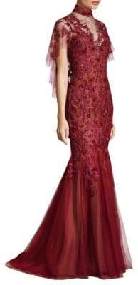 Basix II Black Label Floral Open Back Floor-Length Gown
