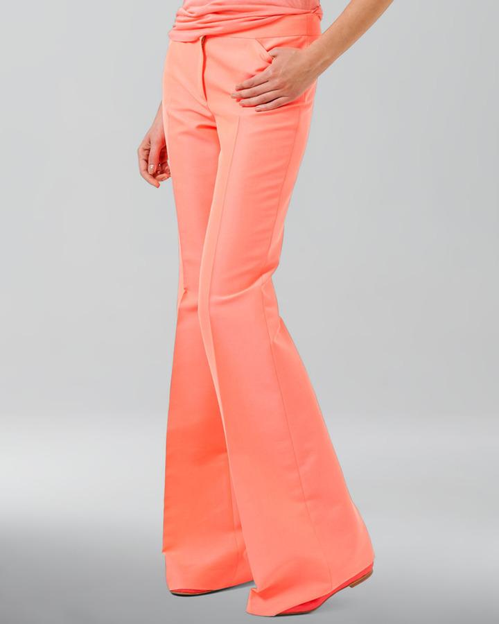 Akris Cotton-Blend Gabardine Boot-Cut Pants, Fluo