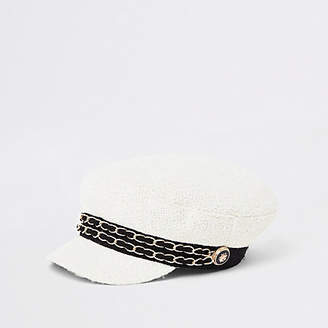 River Island Womens Cream double chain baker boy hat