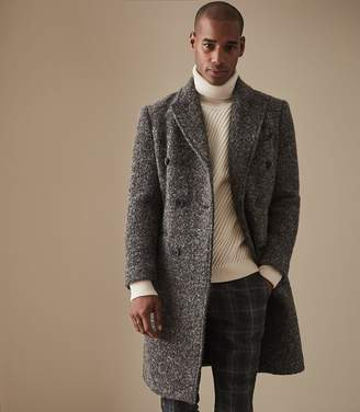 Reiss MARICK BOUCLE DOUBLE BREASTED OVERCOAT Grey