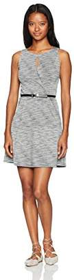 Amy Byer A. Byer Women's Sleeveless Fit and Flare Belted Dress