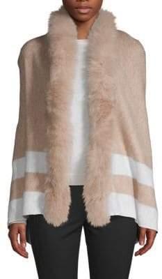 Adrienne Landau Fox Fur Trimmed Open-Front Poncho