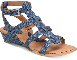 b.o.c. Heidi Snake-Embossed Sandals Women's Shoes $70 thestylecure.com