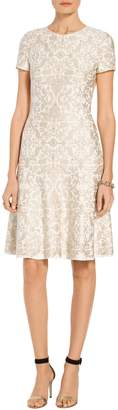 St. John Gold Leaf Brocade Knit Flared Dress