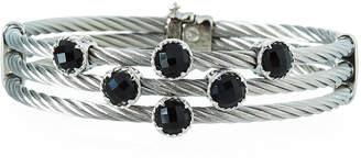 Alor Triple-Cable Bangle w/ Black Onyx