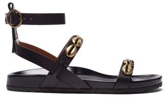 Etro Shell Studded Leather Sandals - Womens - Black