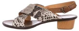 Lanvin Embossed Leather Sandals