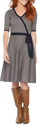 Liz Claiborne Belted Short Sleeve Sweater Dress