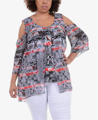 91b3b0f2310 NY Collection Plus Size Layered Cold-Shoulder Tunic