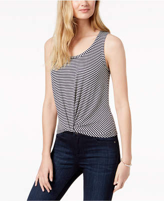 Maison Jules Striped Twist-Front Tank Top, Created for Macy's