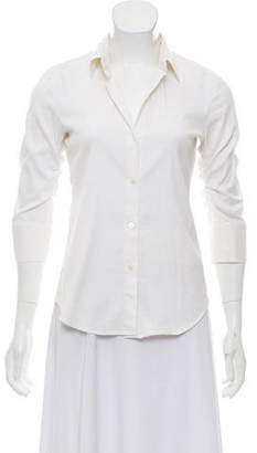 Theory Three-Quarter Sleeve Ruched Blouse