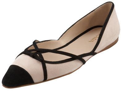 Prada Suede Pointed-Toe Flat