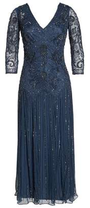 Pisarro Nights Beaded Mesh Tea Length Dress