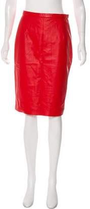 Oscar de la Renta Leather Knee-length Skirt w/ Tags