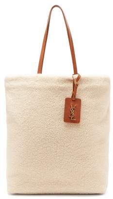 Saint Laurent Shopping Shearling And Suede Bag - Womens - Beige