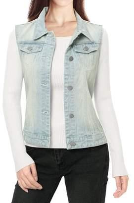 Unique Bargains Ladies Buttoned Washed Denim Vest w Flap Pockets Light Blue M