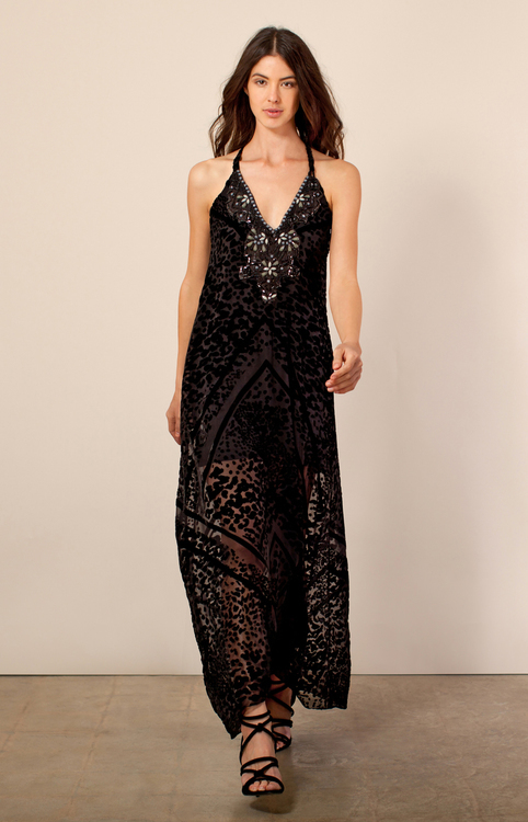 Hale Bob - Delphine Silk Burnout Maxi In Black