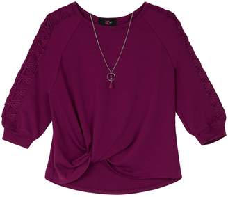 e81dd3a1b21ca Amy Byer Iz Girls 7-16 IZ Lattice Sleeve Top
