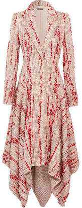 Alexander McQueen Asymmetric Frayed Tweed Coat - Blush