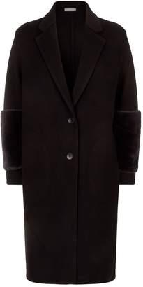 Vince Shearling Band Wool Coat