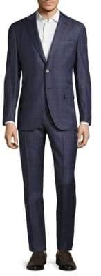 Isaia Regular Fit Plaid Suit