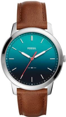 Fossil Men's Minimalist Brown Leather Strap Watch 44mm