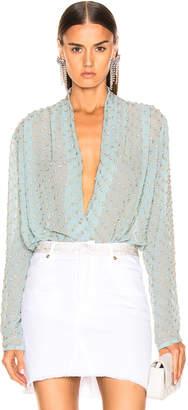 Raisa&Vanessa RAISA&VANESSA Embellished Wrap Bodysuit in Mint | FWRD