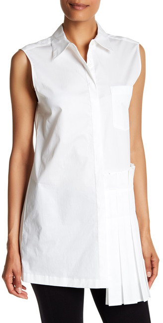 DKNY DKNY Sleeveless Collared Side Pleated Blouse
