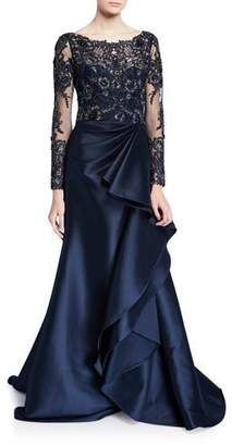 Badgley Mischka Couture Long-Sleeve Lace Illusion Gown w/ Keyhole-Back & Mikado Ruffle Skirt