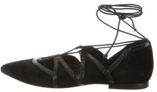 B Brian Atwood Suede Lace-Up Flats $130 thestylecure.com