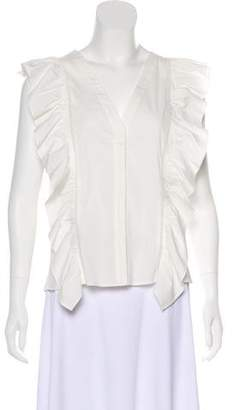 Alice + Olivia Sleeveless Ruched-Accented Top
