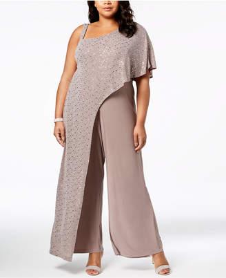 R & M Richards Plus Size Sequined-Drape Jumpsuit