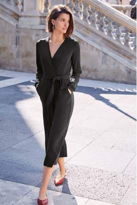 b16f76406b Next Womens Black Wrap Front Belted Jumpsuit