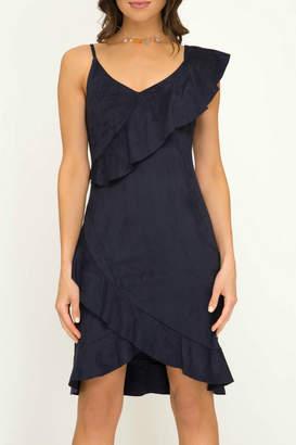 She + Sky Faux Suede Ruffle Detail Dress